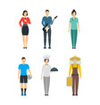 cartoon professional people characters icon set vector image