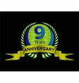 Celebrating 9 Years Anniversary Green Laurel vector image vector image