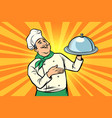 chef with tray with lid vector image