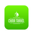 china tourism icon green vector image vector image