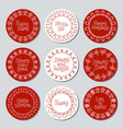 christmas new year gift round stickers labels and vector image vector image