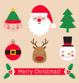 christmas stickers set - santa claus elf snowman vector image vector image