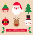christmas stickers set - santa claus elf snowman vector image