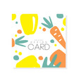 colorful card with carrot and yellow pepper fresh vector image vector image