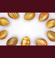 decorated easter golden eggs isolated on white vector image
