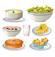 Different kind of food on plates vector image vector image