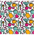 doodle cartoon kitchen elements seamless pattern vector image