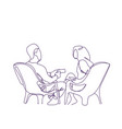 doodle couple sit in armchairs speaking hand drawn vector image vector image