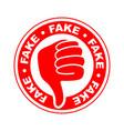 fake thumbs down icon vector image vector image