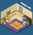 family life isometric composition vector image