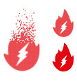 fractured pixel halftone electric spark flame icon vector image vector image