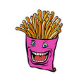 french fries character vector image vector image
