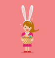 girl with bunny ears mask holding basket full of vector image vector image