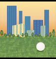 golf ball on cityscape vector image vector image