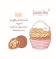 hand drawn cupcake walnut flavor vector image vector image
