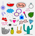 hand drawn doodle colorful party set vector image vector image