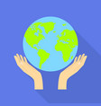 hand globe protect icon flat style vector image