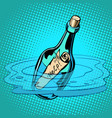 help bottle with note sea vector image vector image