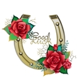 Horseshoes in golden color with red roses vector image
