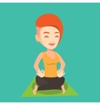 Man meditating in lotus pose vector image vector image