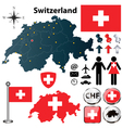 map switzerland with regions vector image