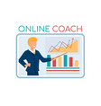 online coach lecturer on screen pointing on graph vector image vector image