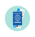 passport and ticket on plane icon travel documents vector image vector image