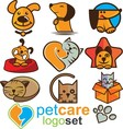 pet care logo set vector image vector image