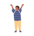 positive smiling schoolboy with hands raised up vector image