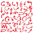 Red Hand Drawn Arrows Set vector image vector image