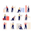 repairman home workers electrician carpenter and vector image