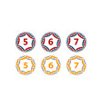 ribbon circle star number set vector image vector image