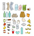 rubbish icon collection garbage set trash sign vector image vector image