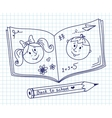 Scribble in a writing-book Boy and girl vector image