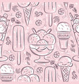 seamless patterns with ice cream on pink vector image