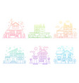 set gradient line urban and suburban houses vector image vector image