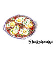 shakshouka middle eastern traditional dish vector image