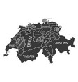 switzerland map labelled black in english vector image vector image