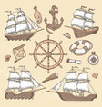 vintage marine ships old cartouche frame ship vector image