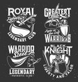 warrior knight in armor t-shirt print royal club vector image vector image