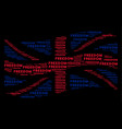 waving great britain flag mosaic of freedom word vector image vector image