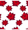 xmas seamless pattern with poinsettia star plant vector image vector image