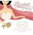 Invitation card with bride holding flowers vector image