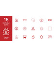 15 stop icons vector image vector image