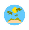 beach with palm trees icon summer vacation on vector image vector image