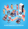 blood donation isometric vector image