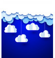 blue background with white paper decorative clouds vector image vector image