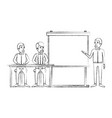 blurred silhouette pair of man sitting in a desk vector image vector image