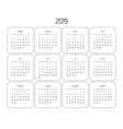 calendar - year 2019 week starts from vector image vector image