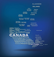 Canada map made with name of cities vector image vector image